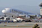Emirates, Airbus A380-861, A6-EOC - LAX (19086337885).jpg