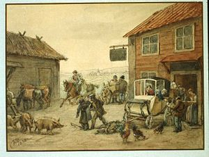 1832 in Sweden - En skjutsbonde blir utskälld och en kommer med sina hästar. Fritz von Dardel, 1838 - Nordiska Museet - NMA.0053790