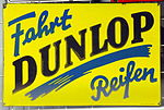 Enamel advertising sign, Fahrt Dunlop Reifen.JPG
