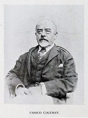"Enrico Coleman - Portrait photograph of Coleman from ""In Memoriam: Enrico Coleman"", ''Emporium'' 33 (196):306–313, April 1911"