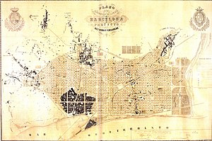 Ildefons Cerdà - Original plan of the extension of Barcelona (1859)