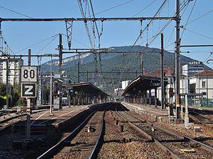 Aix-les-Bains - The southern route into the Gare d'Aix-les-Bains-Le Revard