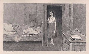 "Éponine - 19th Century Illustration of Éponine. ""A Rose in Misery"" by artist Pierre Jeanniot (1848–1934)."