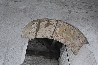 Escomb Church - The chancel arch, with traces of what may be Mediæval paint
