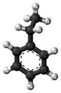 Ball-and-stick model of the ethylbenzene molecule