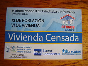 2007 Peru Census - Label that identifies enumerated houses.