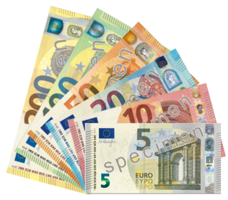 Banknotes of the European currency Euro