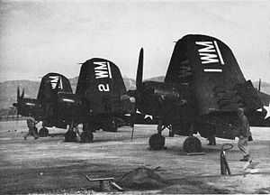 Marine Aviation Training Support Group 33 - MAG-33 F4U-4s in 1948 during a maneuver at Camp Pendelton