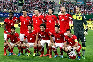 Austria national football team - Austria national football team before the match against Sweden, June 2013