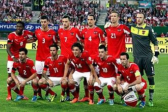 Austria national football team - Austria national football team before the match against Sweden, June 2013