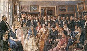1910 in Denmark - From the inauguration of Faaborg Museum on 24 June, painting by Peter Hansen