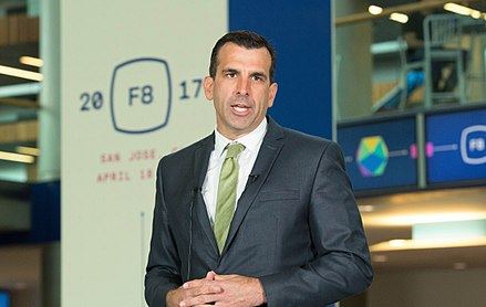Mayor of San Jose Sam Liccardo (pictured at Facebook F8 2017). Facebook F8 2017 San Jose Mayor Sam Liccardo (cropped).jpg