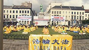 Organ harvesting from Falun Gong practitioners in China - Falun Gong practitioners protest organ harvesting; demonstration outside the European Parliament, 2016