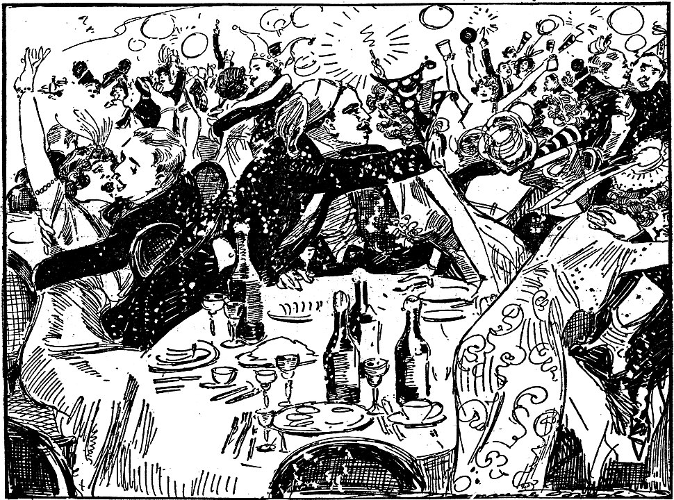 Fanciful sketch by Marguerite Martyn of a New Years Eve celebration