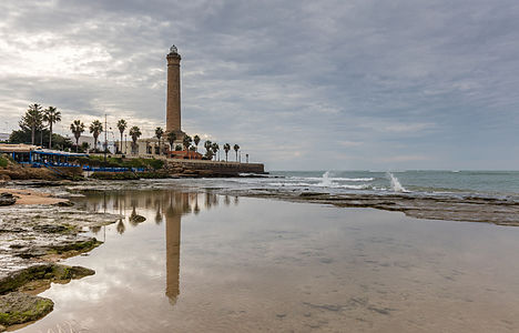 The 62 m high lighthouse of Chipiona, located in Chipiona, province of Cádiz, Andalusia, is the highest in Spain and one of the highest in the world. The lighthouse was inaugurated in 1869 and helps the ships to enter the estuary of the Guadalquivir river, the only one navigable in Spain.