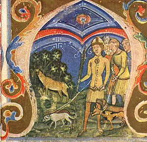 Hunor and Magor - The hunt of the White Stag, from the Chronicon Pictum, 1360.