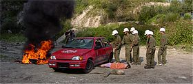 A group from the youth fire brigade from Kufstein / Tyrol during an exercise