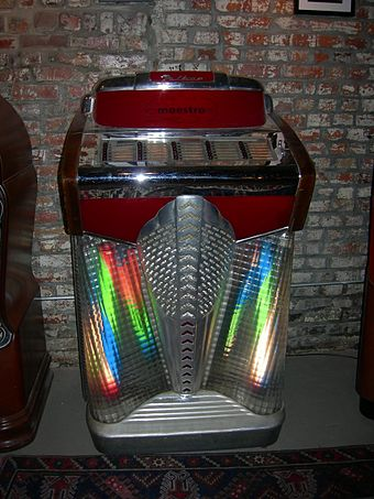 A jukebox of 1948 Filben FP-300 Maestro 78 rpm Filben Maestro juke box 01.jpg