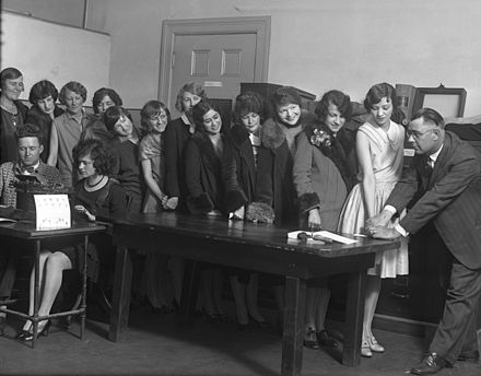 Women clerical employees of the Los Angeles Police Department being fingerprinted and photographed in 1928. Fingerprinting 1928.jpg