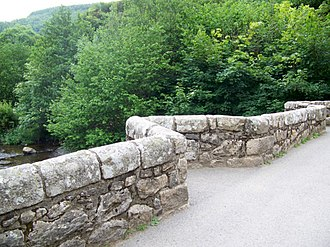Fingle Bridge - A closer detail of the bridge deck and wall