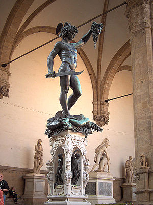 Loggia dei Lanzi - Benvenuto Cellini's Perseus with the Head of Medusa.