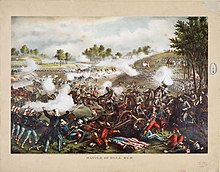 19th century chromolitograph of the First Battle of Bull Run