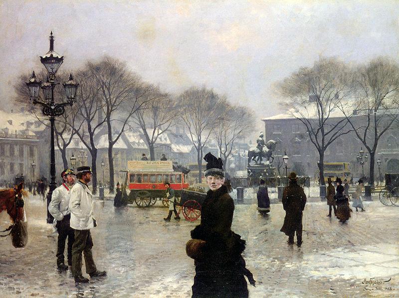 File:Fischer Paul Gustave A Winters Day on Kongens Nytorv Copenhagen 1888 Oil On Canvas.jpg