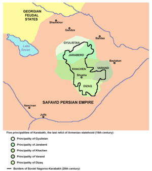 Melikdoms of Karabakh - Five principalities of Karabakh (Gyulistan, Jraberd, Khachen, Varanda, Dizak), the last relict of Armenian statehood (16th century)