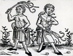 Scourge - Fifteenth-century woodcut of flagellants scourging themselves