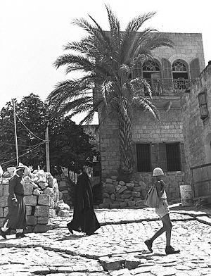 Kafr Yasif - A local Greek Orthodox priest (center) in Kafr Yasif, 1950