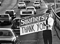 Florida Legislator Bruce Smathers with thank you sign after November 1974 election.jpg