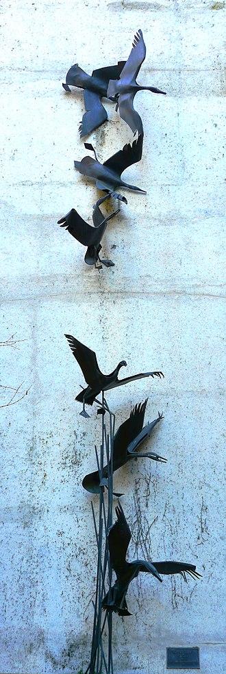 Flying Ducks - The sculpture in 2017