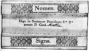 """Papal conclave - Cardinals formerly used these intricate ballot papers, one of which is shown folded above. Currently, the ballots are simple cards, folded once (like a note card), with the words """"I elect as Supreme Pontiff ....."""" printed on them."""