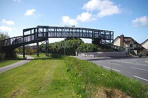 Bedstead Corner and The Nook, Isle of Man - Pedestrian overbridge at Bedstead with Hailwood Avenue junction to right