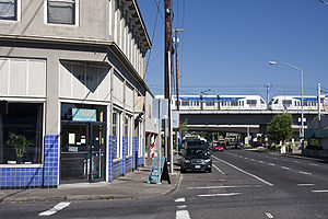Lents, Portland, Oregon - Green Line going through the Lents Town Center