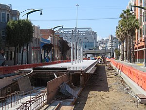 Fourth and Brannan station under construction, March 2019.JPG