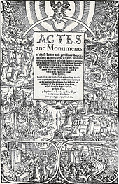 A photograph of the wood block print of the Book of Martyrs. The book's title is in the centre and various scenes from the book are depicted around it.