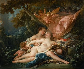 Callisto (mythology) - In Jupiter and Callisto by François Boucher, Zeus/Jupiter takes the form of Artemis/Diana (Nelson-Atkins Museum of Art, Kansas City)