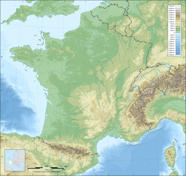 France map Lambert-93 topographic-blank.svg