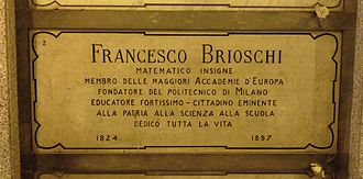 Francesco Brioschi - Brioschi's grave at the Monumental Cemetery of Milan