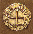 Frankish gold Tremissis issued by minter Madelinus Dorestad the Netherlands mid 600s.jpg
