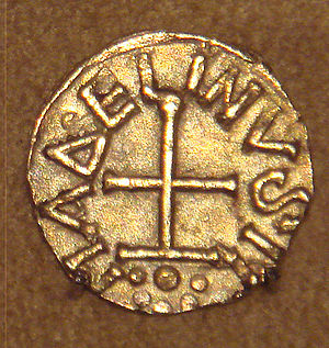 Tremissis - Frankish gold Tremissis with Christian cross, issued by minter Madelinus, Dorestad, Netherlands, mid-600s.