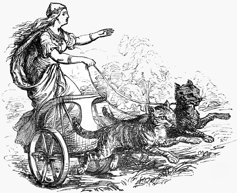 « Freyja riding with her cats (1874) » par Ludwig Pietsch (1824-1911) — Murray, Alexander (1874). Manual of Mythology : Greek and Roman, Norse, and Old German, Hindoo and Egyptian Mythology. London, Asher and Co. This illustration is from plate XXXVII. Digitized version of the book by the Internet Archive, http://www.archive.org/details/manualofmytholog00murruoft Published earlier in Reusch, Rudolf Friedrich. 1865. Die nordischen Göttersagen.. Sous licence Domaine public via Wikimedia Commons - https://commons.wikimedia.org/wiki/File:Freyja_riding_with_her_cats_(1874).jpg#/media/File:Freyja_riding_with_her_cats_(1874).jpg