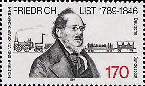 Friedrich List - Deutsche Bundespost stamp commemorating the 200th anniversary of List's birth (1989)
