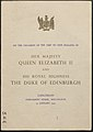 Front Cover of Luncheon Booklet from the New Zealand visit by Queen Elizabeth II and the Duke of Edinburgh, 1953-1954 01.jpg