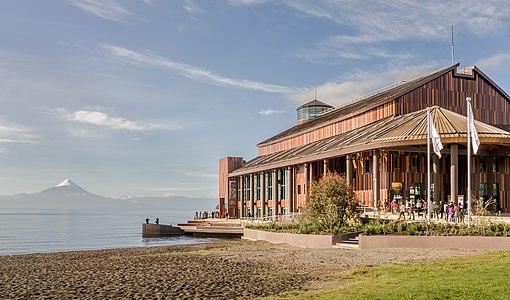 Theatro del Lago in Frutillar (Chile) on Lake Llanquihue with the volcano Osorno in the background