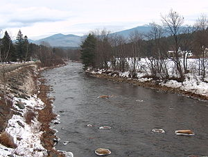 Gale River - The Gale River in Franconia, New Hampshire. In the distance are Mount Garfield and Mount Lafayette of the White Mountains.