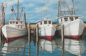 Fulton, Texas - Artists have long found a rich subject matter in the Fulton shrimp boat fleet.