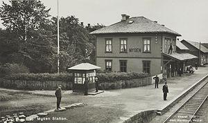 Eastern Østfold Line - Mysen Station during in 1922. The station building was demolished in 1989