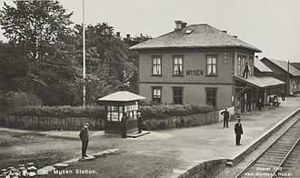 Eastern Østfold Line - Mysen Station during in 1922. The station building was demolished in 1989